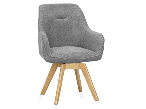 moebel-eins Chilly Schalendrehstuhl drehbar Drehstuhl Esstischstuhl Schalensitz Schalenstuhl Stuhl, Material Stoff/Beine massiv