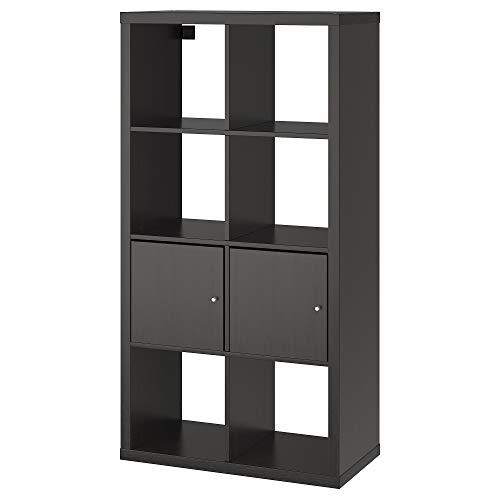 KALLAX hyllenhet med dörrar 77 x 39 x 147 cm svartbrun