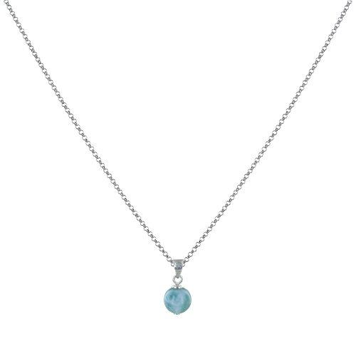Schmuck Les Poulettes - Rhodium Silber Kette Halskette und Larimar Kleine Perle