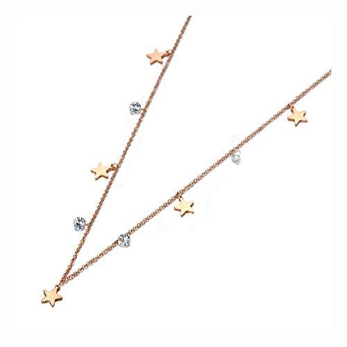 HYL0 Titanium Edelstar Charme Choker Halsketten Kristall Anhänger Halskette Für Frauen Mädchen ZZBiao (Color : Rose Gold)