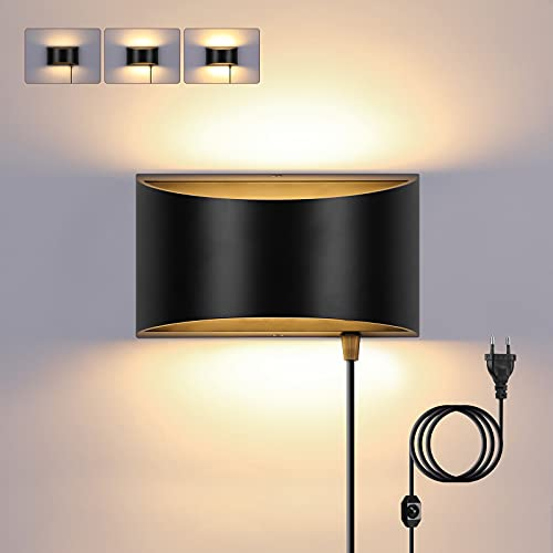 Glighone Apliques de Pared Brillo Ajustable 12W Lámpara de Pared Interior con Enchufe UE Apliques Pared LED con Interruptor Moderno Negro para Escalera Pasillo, Blanco Cálido