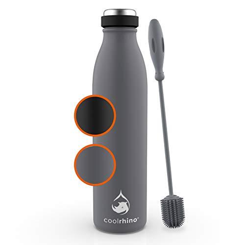 coolrhino Edelstahl Trinkflasche 500ml, 1L – Kohlensäure geeignet Isolierflasche mit Reinigungsbürste – BPA frei, Auslaufsicher -Thermosflasche & Teeflasche für Uni, Schule, Fitness, Outdoor, Camping