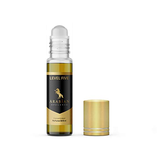 Aceite de perfume FR70 NIVEL FIVE para mujer. Botella enrollable de 6 ml. Opulencia árabe. Woody/floral/polvo/aldehídica/terroso