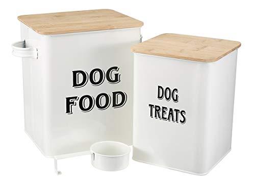 Pethiy - Cajas para Comida y golosinas para Animales - Contenedor de Comida para Perros - Tapas de Madera herméticas y Pala - Acero al Carbono Revestido -Capacidad 8L + 5L-Blanco