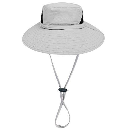 Sombrero de Sol Al Aire Libre - 50UV Protección Solar De Ancho Borde Sombrero de Nylon - Secado Rápido Sombrero de Verano Para la Pesca de Senderismo Cámping Paseo en Barco (gris claro)