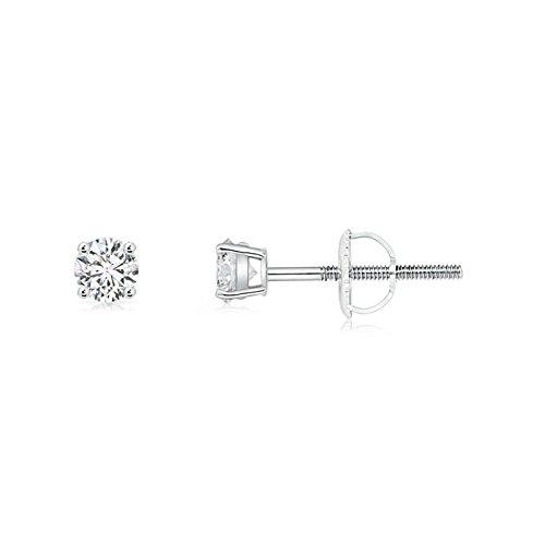 Juego de pendientes solitarios de diamante en platino (3,2