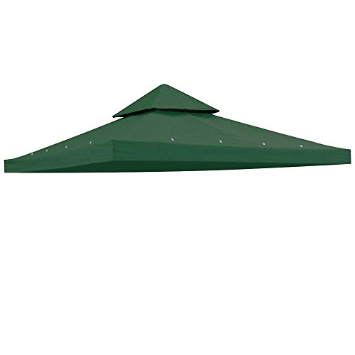 Heavy Duty Green Poly Fabric 10x10 Square Feet Garden Canopy Gazebo Replacement Vented Top 2-tier UV Protect Waterproof for Outdoor Patio Lawn Sun Shade Tent