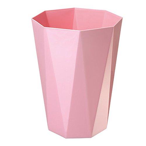 WEBO HOME- Européen - Style Salle de bains Chambre Salon Cuisine Sans plastique Déchets Papier Panier Corbeille -Poubelle (Couleur : Rose)