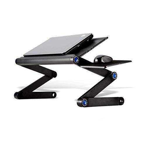 RH-HPC Mesa Plegable Soporte for elevación Plegable portátil, Cama de Lazy Tabla de la computadora, Escritorio Vent rotación de 360 Grados (Color: Plata) (Color : Black)