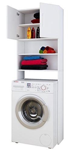 VCM Waschmaschinenschrank Badschrank Hochschrank Badregal Überbau Schrank Jutas Weiß 190 x 64 Badmöbel Regal