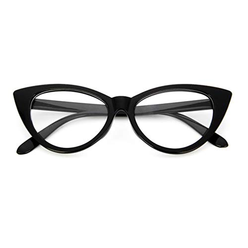 Vintage Cat Eye Women PC Gafas con Montura de Gafas Gafas con Montura de miopía (Bright Black & White L)