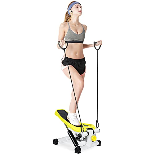 Mini Stepper with Resistance Bands, Doufit ST-02 Step Machine Indoor for Home Exercise Workout with LCD Monitor
