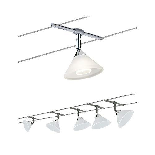 Paulmann Set Cuerda System Colmar Con 5 Focos, Metal, Gu4, Satén, Cromo/Satinado, 1000 X 0.5 X 16.5 Cm