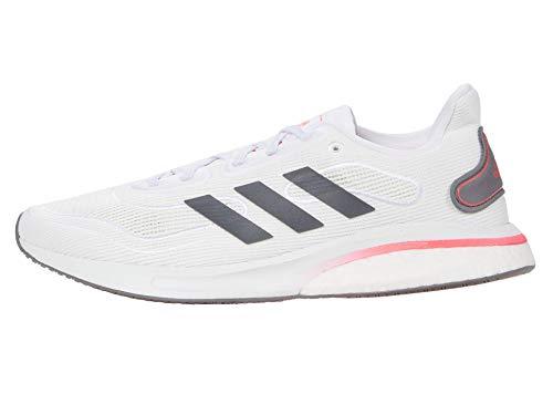 adidas mens Supernova Running Shoe, White/Grey/Signal Pink, 7 US