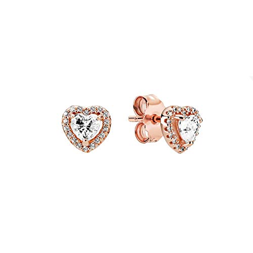 Pandora Pendientes brillantes con forma de corazón de aleación de metal chapado en oro rosa de 14 quilates, 3,4 x 6,8 x 6,9 mm