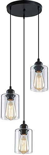 ZHU YAN Light Industrial 3-Light Pendant Lighting,Farmhouse Pendant Lighting Kitchen Light Flush Mount Clear Glass Kitchen Island Pendant Lights