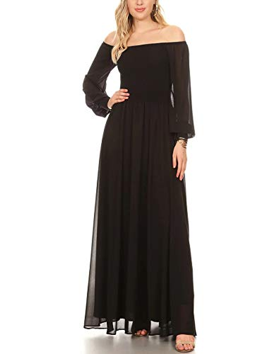 AOOKSMERY Women's Elegant Off Shoulder Puff Long Sleeve Draped Maxi Dress (Black,M)