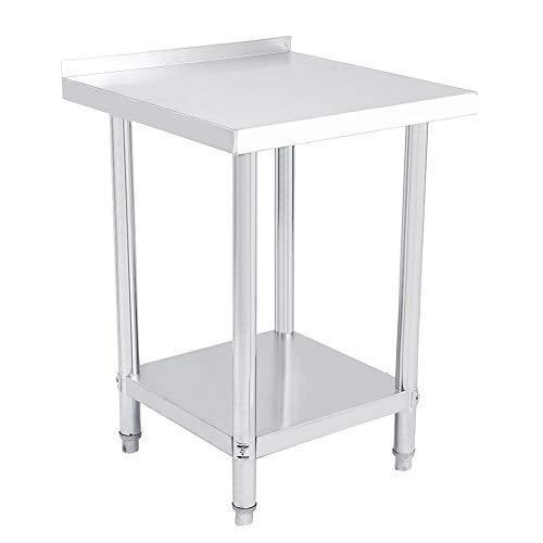 AYNEFY - Mesa de trabajo de acero inoxidable, 1 unidad, doble capa, acero inoxidable, 0,6 mm (2 x 2 pies = 61 x 61 cm)