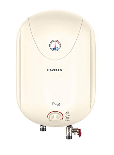 Havells Puro Plus 5S 10-Litre Storage Heater with Flexi Pipe, Safe Shock Plug (White)