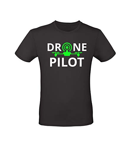 Fashion Graphic T-Shirt Uomo Drone Pilot Pilota Drone Droni Fluo Operatore Apr (Nero, XL)