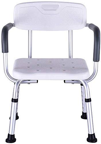 ZXY-NAN Bathroom Wheelchairs Stools Bath Stool Shower Stool/Bath Seat Aluminum Alloy Bath Seat Benchwith Detachable Backrest Chair & 8 Level Adjustable Height for Elderly & Disabled, 150kg Loa