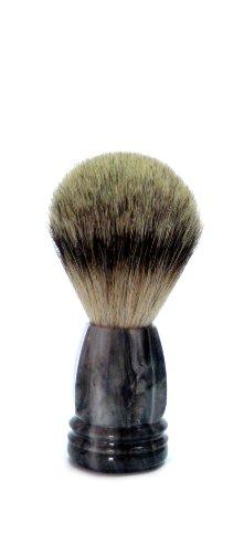 Golddachs - Brocha de afeitar de pelo de tejón (1 unidad, mango de plástico de color gris con efecto mármol)