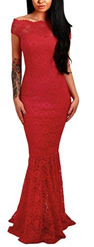 Lukis Damen Meerjungfrau Ballkleider Off Shoulder Lang Abendkleider Partykleid Rot S-Brust 80~90cm