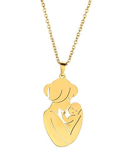 AMOZ Collar Colgante de Acero Inoxidable para Madre E Hijo, Diseño Hueco, Collar con Dije para Mamá Y Bebé, Regalo para Mujer, Esposa, Madre,Dorado 2