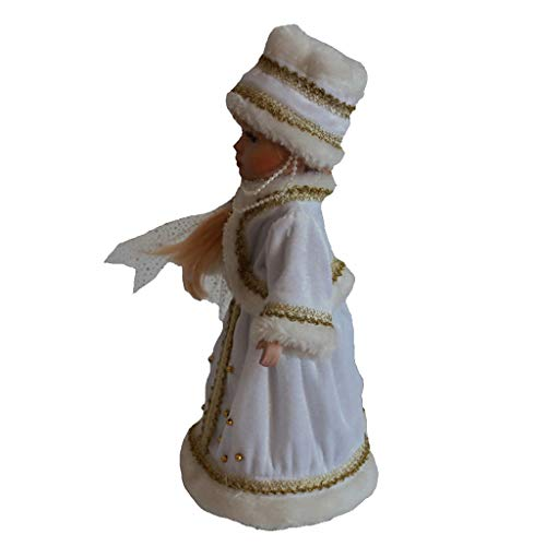 menolana Porcelain Doll 30cm Vitorian Girl Doll in White Dress & Hat with Display Stand - for Christmas Decors Gifts