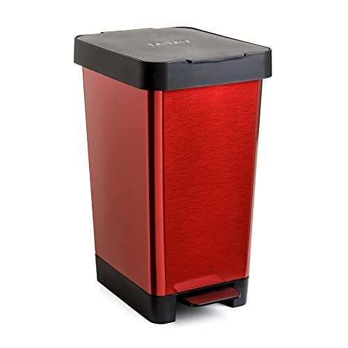 Tatay 1021309 - Cubo de pedal smart, 25L de capacidad, pedal retráctil, polipropileno, libre de BPA, bolsa basura 30 L, color rojo metalizado, medidas 26 x 36 x 47cm