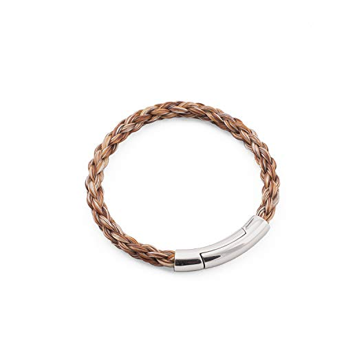crintiff - Horsehair Bracelet for Men and Women - Collection Montana - Rounded Braid - Color Mix Brown - Size 7.1/7.5in - Medium