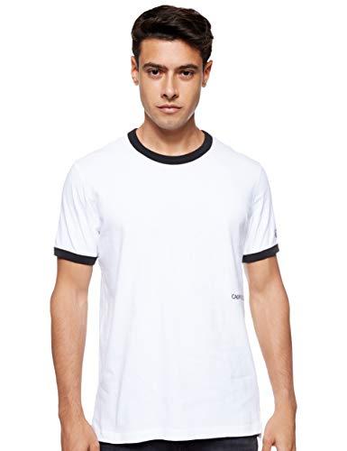 Calvin Klein Contrasted Ringer Reg Fit tee Camiseta, Blanco (Bright White/Black Yaf), XS para Hombre