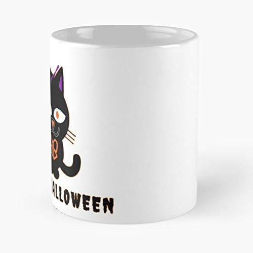 Desconocido and Meme Black Cute Or Cartoon Cat Happy For with Trick Bow Treathalloween Vintage Hat Kitty Silhouette House Halloween Taza de café con Leche 11 oz