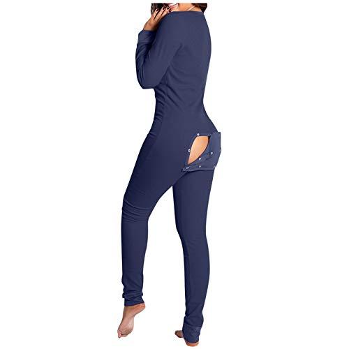 Dwevkeful Einteiliger Schlafanzug Damen Sexy mit Knopfleiste Pyjama Nachtwäsche Bodysuit Jumpsuit mit Langarmshirt Schlafoverall Strampler Onesie Thermo Unterwäsche