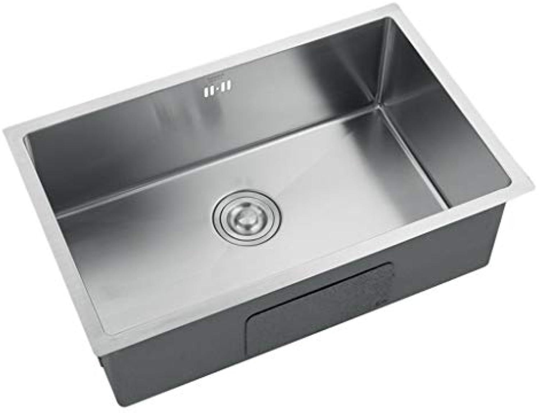 Waschschalen Spüle Edelstahlspüle Küchenspüle Quadratische Spüle Tablett 1,2 MM Dicke Edelstahlspüle Waschbecken Einzelspüle Spüle (Farbe   Silber, Größe   68  43  22 cm)