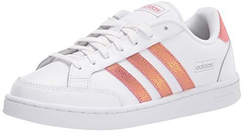 adidas Women's Grand Court SE Tennis Shoe, White/Trace Maroon/Grey, 9.5