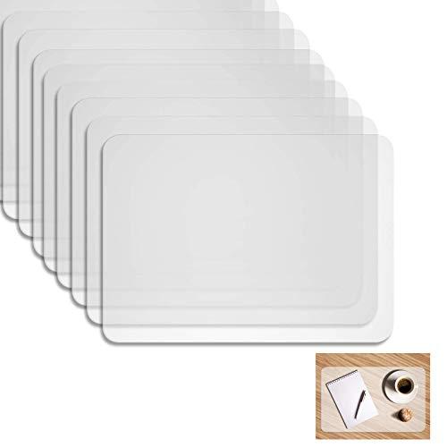 KINRIKA Kunststoff Platzdeckchen,Tischset Transparent abwaschbar,rutschfest Abwaschbar Tischsets 40 * 30cm(8 Pack)