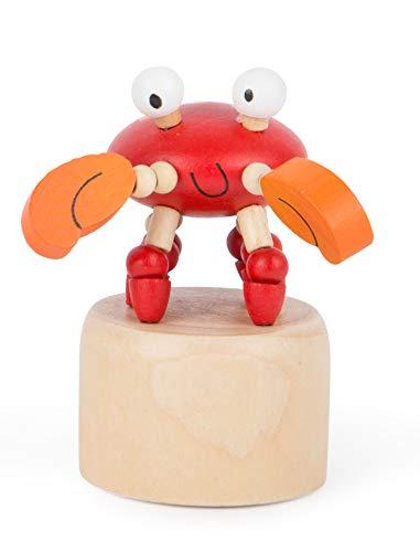Small Foot 11145 Drückfigur Krebs aus Holz, FSC 100%-Zertifiziert, Mitgebsel Spielzeug, Mehrfarbig