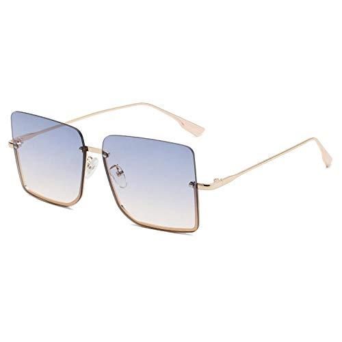 DLSM Gafas de Sol sin Montura Cuadrada de Gran tamaño Mujeres Vintage Aleación Marco Siamese Sun Gafas Sombras Metal Eyewear-Azul Amarillo