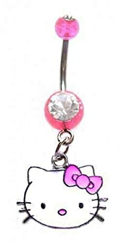 playful piercings Pretty Cute Pink Hello Kitty Head Face Dangle Belly Button Navel Ring 14 Gauge
