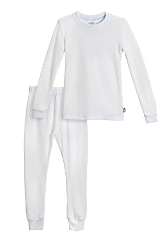 City Threads Little Boys Thermal Underwear Set Perfect for Sensitive Skin SPD Sensory Friendly Base Layer Thermal Wear Cotton Ski Clothing for Kids Comfortable Ultra Soft, White- 3T