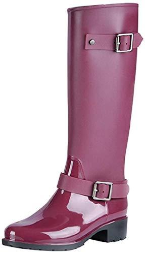 AONEGOLD Stivali di Gomma Donna Antiscivolo Impermeabile Neve Festival Alti Pioggia Stivali Regolabile Zip Fibbia Rain Boot Wellington Boot(Rosso,36 EU)