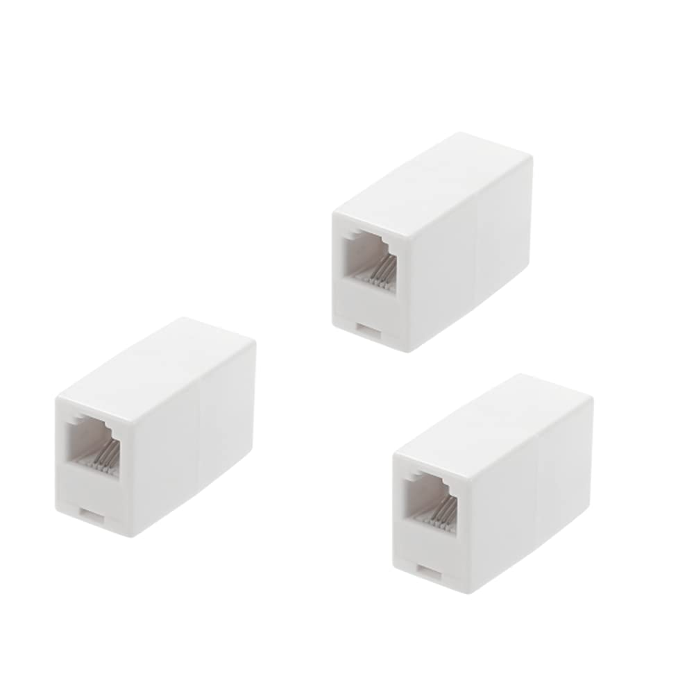 RJ11 Coupler, Straight Telephone Inline Coupler RJ11 6P4C Inline Keystone Jack Female to Female Straight Telephone Cable Cord Extension Adapter White (White 3Pack)