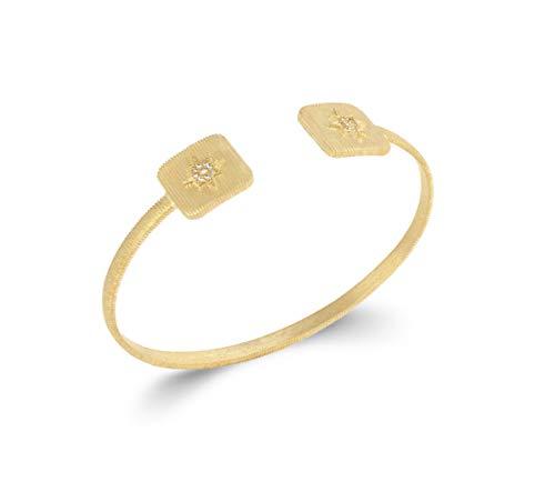 Tata Gisèle - Pulsera rígida chapada en oro de 18 quilates, diseño cuadrado estriado con estrella engastada con óxido de circonio, bolsita de terciopelo de regalo