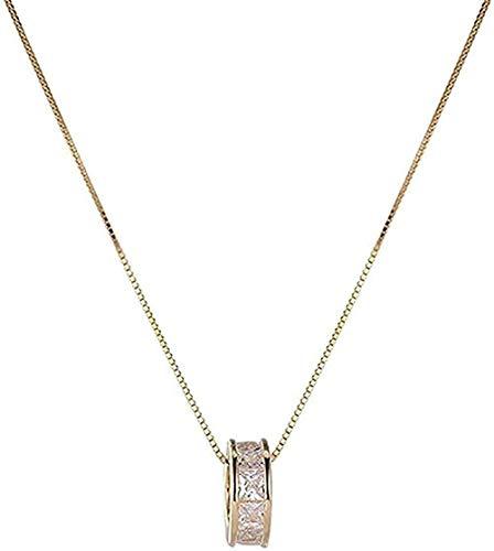 ZHIFUBA Co.,Ltd Collar Diseño Personalizado Collar Plata Mujer Temperamento Simple Clavícula Anillo Cadena Chapado en Oro 41.5cm Amo su Regalo Regalo para Mujeres y niñas