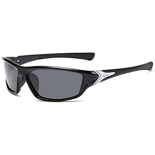 Tree-es-Life Gafas de Sol polarizadas D120 para Montar al Aire Libre Gafas de Sol de líneas Suaves antideslumbrantes Ligeras y Resistentes al Agua Marco Negro Pata Negra Gris gla
