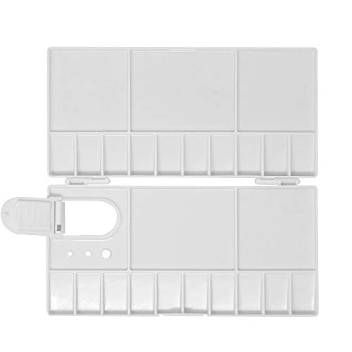 Honbay 25 Compartments Plastic Folding Palette Box with Thumb Hole for Watercolors, Gouache, Acrylic and Oil Paint