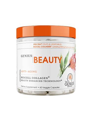 Genius Beauty - Hair Skin and Nails Vitamins + Detox Cleanse + Anti Aging Antioxidant Supplement, Collagen Pills w/ Glutathione & Astaxanthin for Wrinkles, Hair Growth & Skin Whitening - 60 Capsules