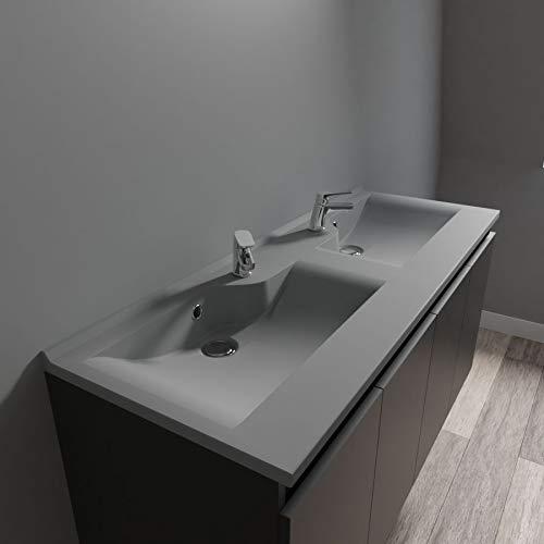 UneSalleDeBain Plan Vasque Double Gris béton Prof 46 RESILOGE - 120 cm