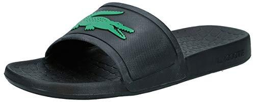 Lacoste Men's Fraisier Slides Sandal, Black/Green, 10 Medium US